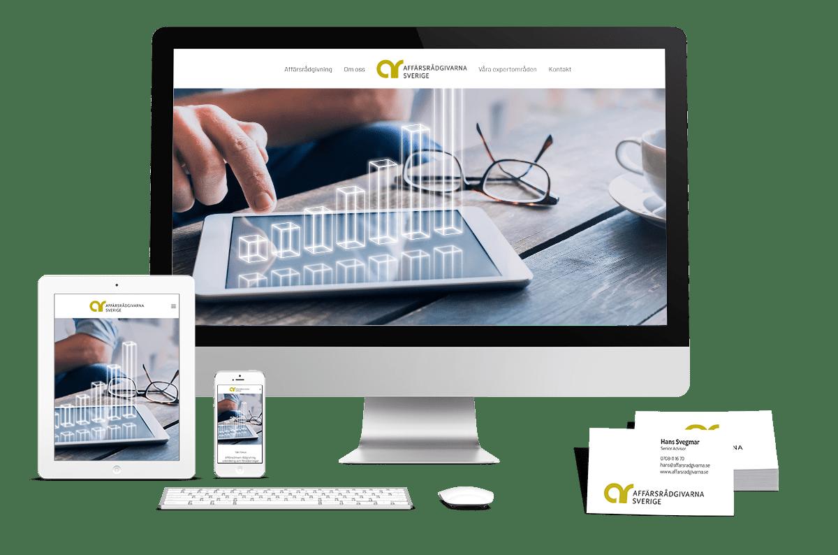 Logotyp, tryckta visitkort och digitalt visitkort