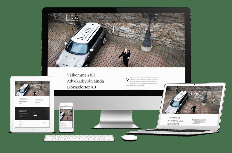 Grafisk profil, trycksaker och webbplats till Advokatbyrån Linda Björnsdotter