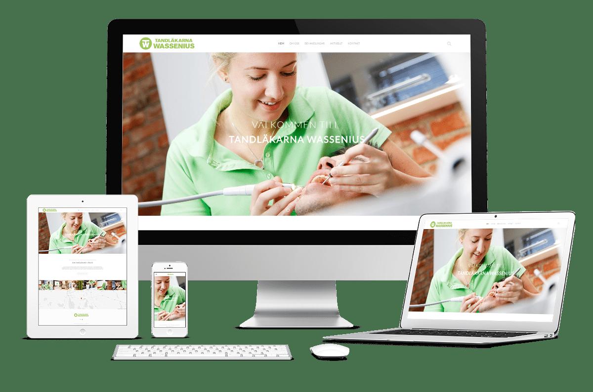 Webbplats och visitkort till Tandläkarna Wassenius