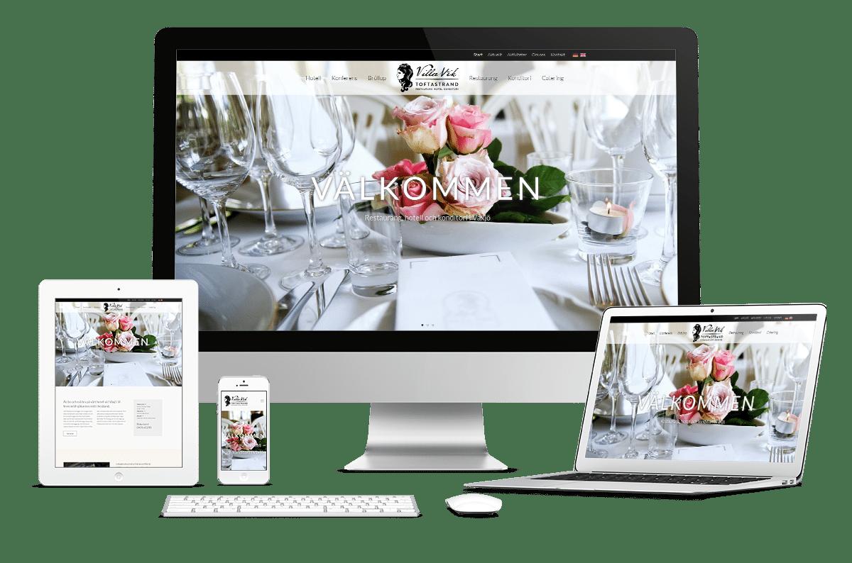Webbplats och trycksaker till Villa Vik i Växjö