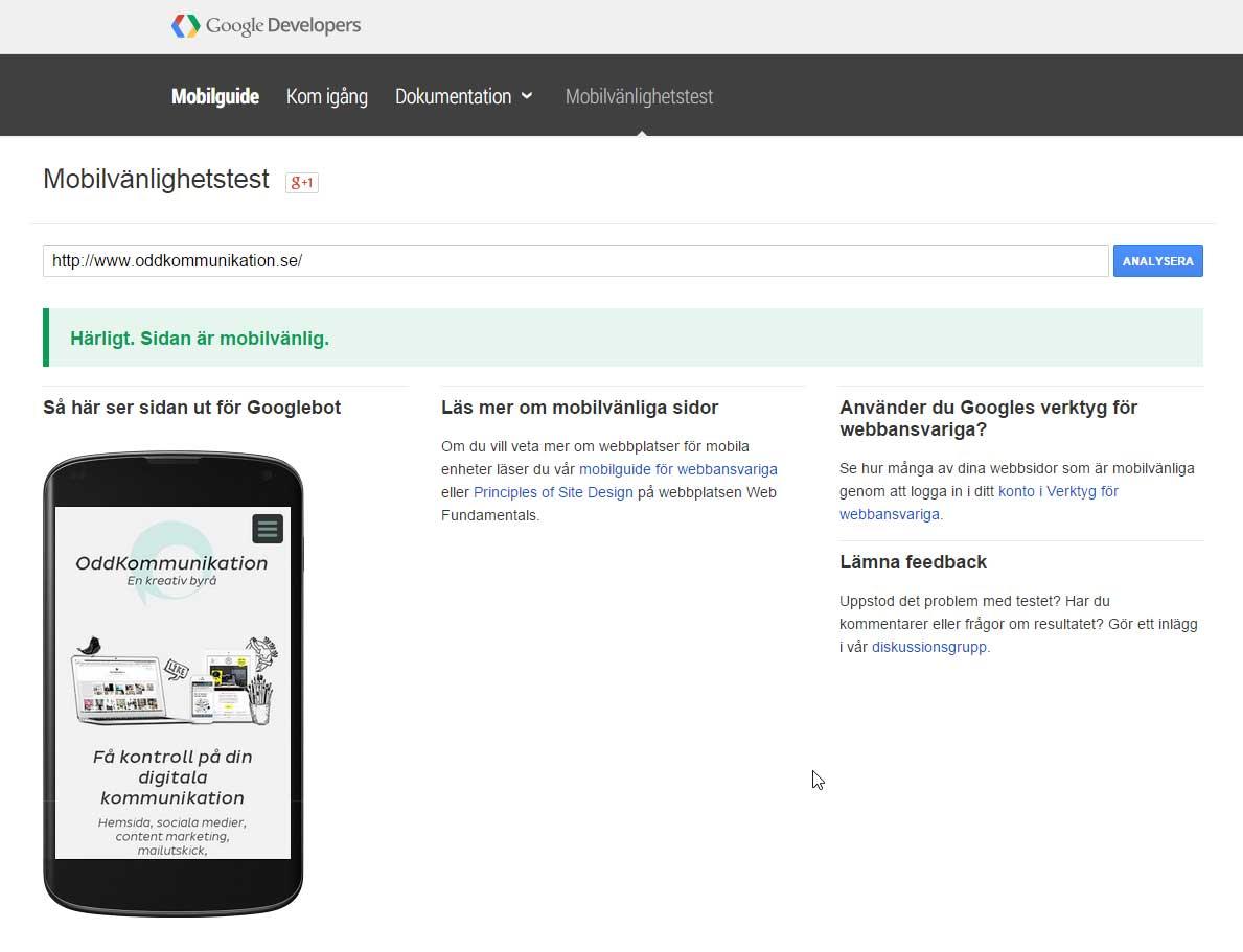 Mobilvänlighetstest Google