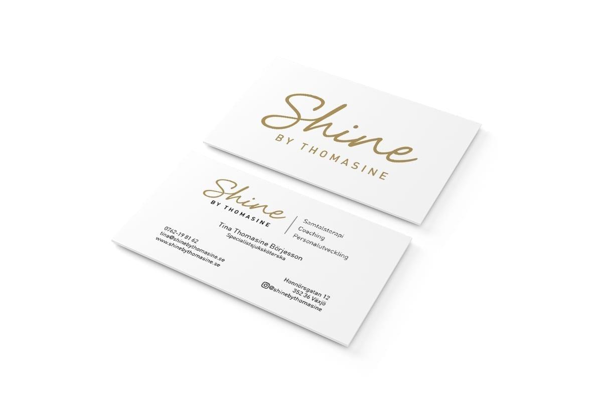 Visitkort till Shine By Thomashine
