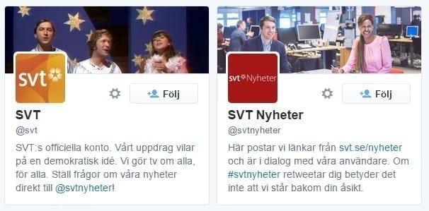 SVT visar i namnet på sina twitterkonton vad som skiljer dem åt.