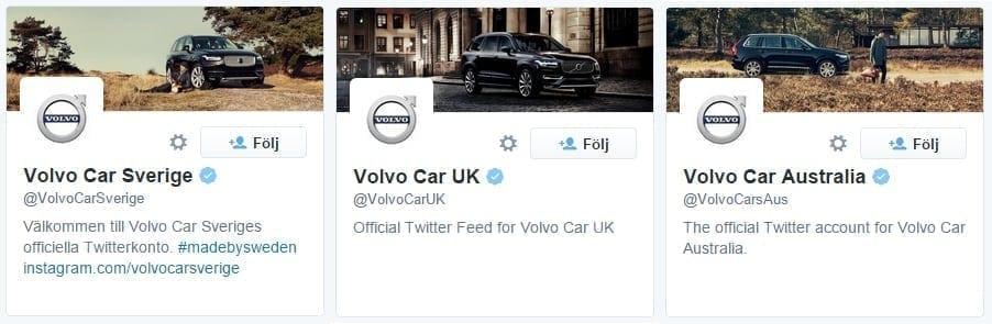Volvo har ett Twitterkonto för nästan varje land och det visar de i namnet på kontona.