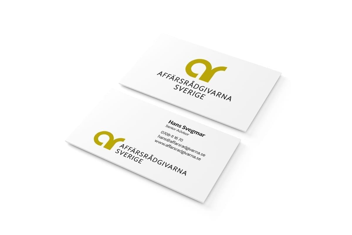 Logotyp, tryckta visitkort och digitalt visitkort till Affärsrådgivarna Sverige AB